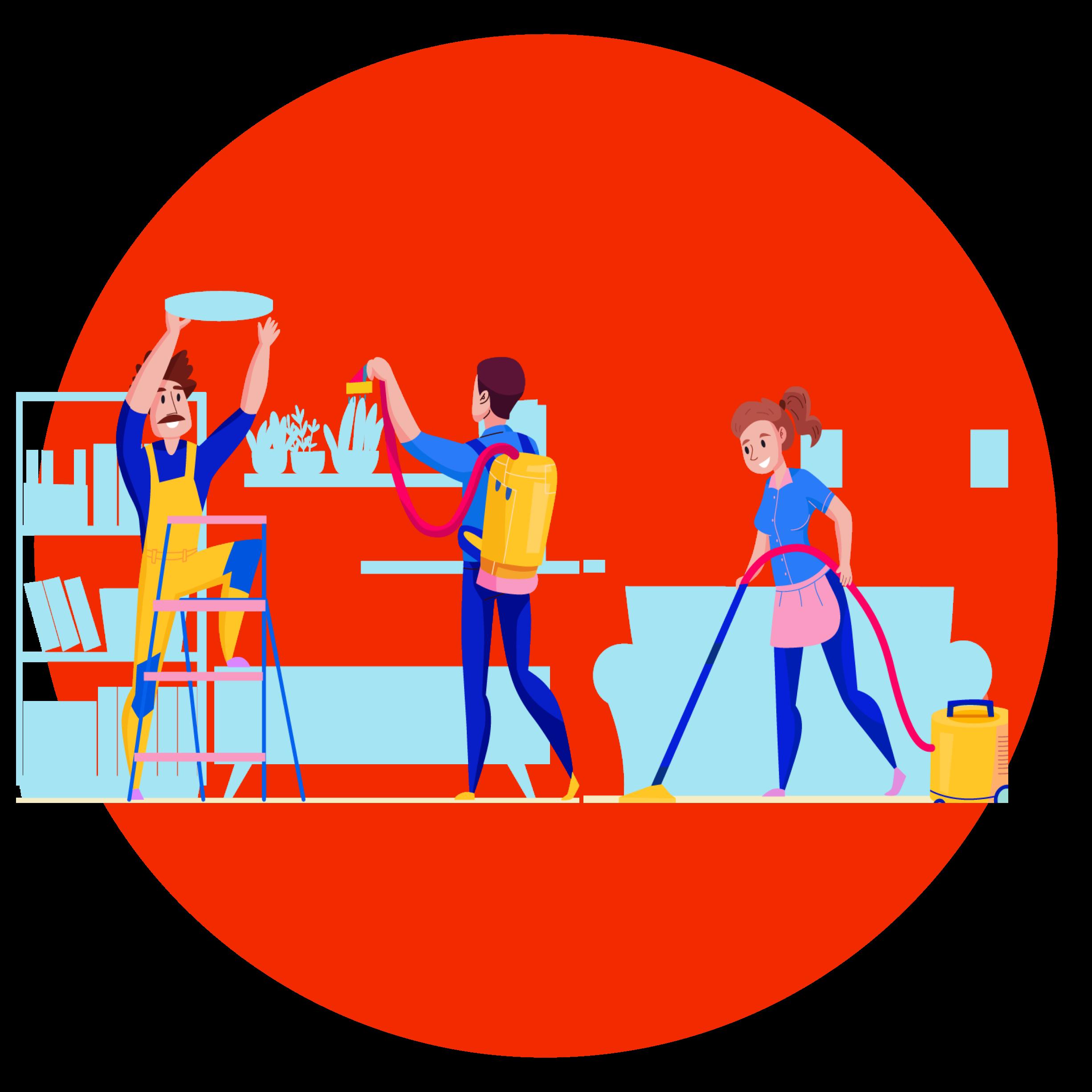 Illustration ménage en équipe