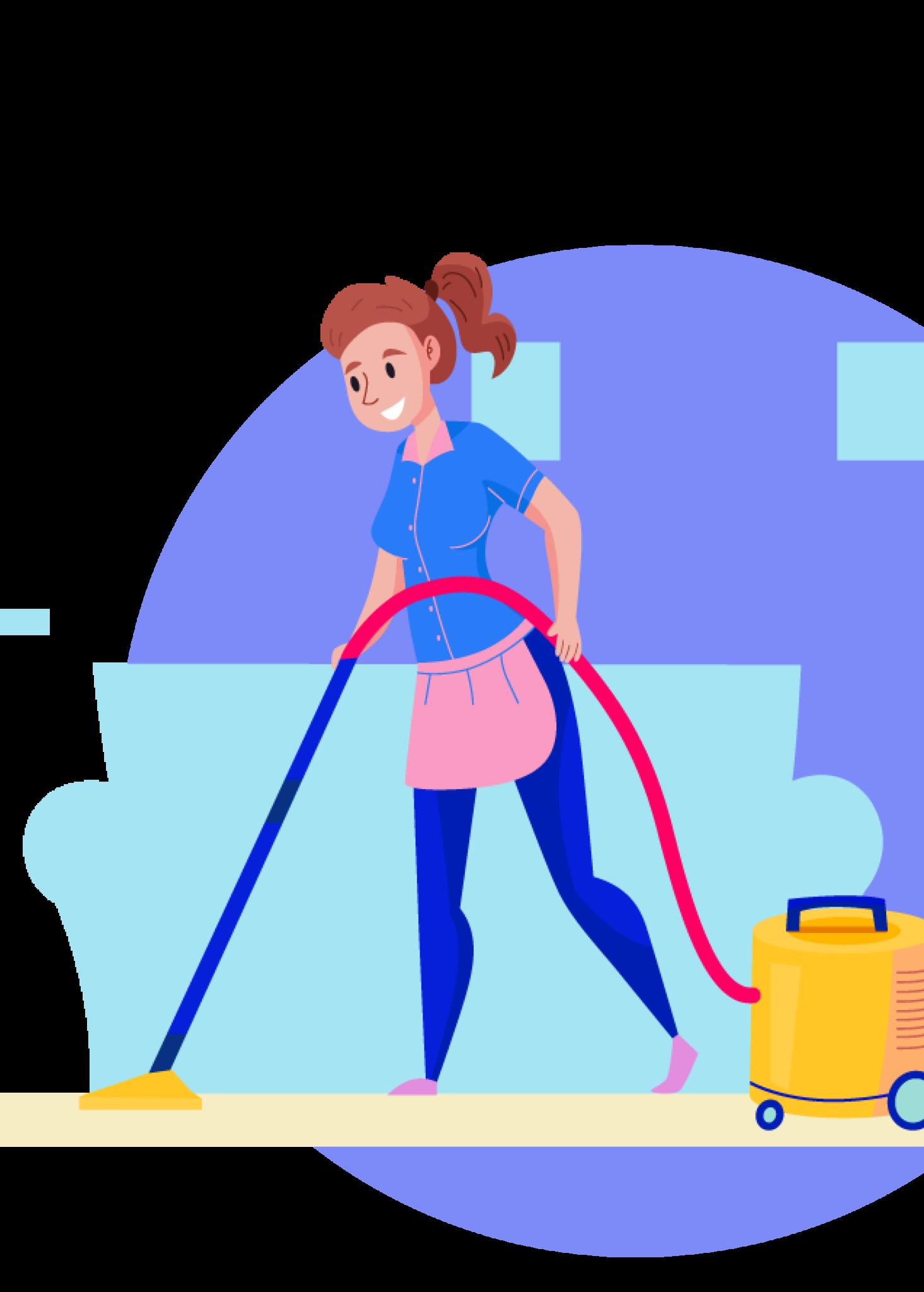 Illustration femme ménage aspirateur
