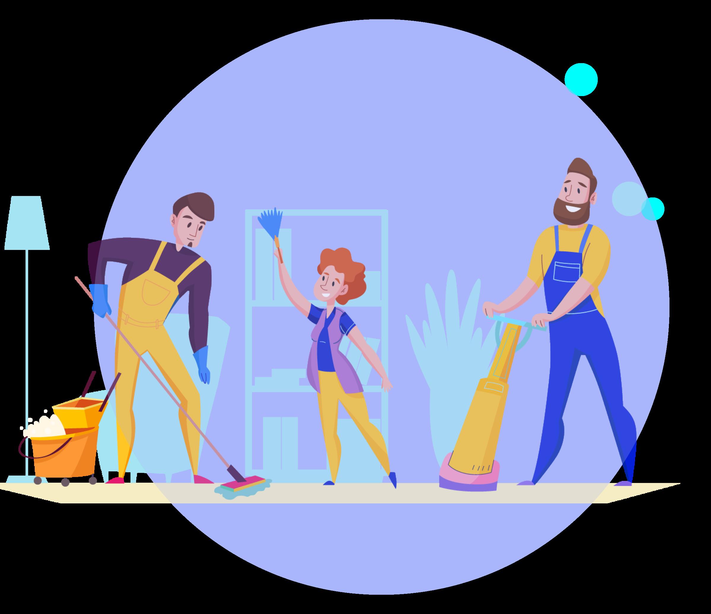 Illustration team ménage sur fond bleu
